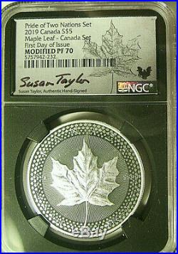 2019 Pride Of Two Nations 2 Coin Silver Set Ngc Pf70 Fdi Rare Canada Set