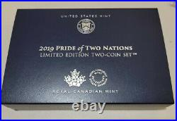2019 USA Canada PRIDE OF TWO NATIONS set reverse proof silver eagle & maple