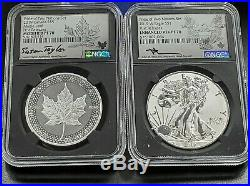 2019 W Canada Pride of Two Nations 2 Coin 1 oz Silver Signed Set NGC PF70 US SET