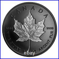 2020 CANADA MAPLE LEAF RHODIUM PLATED INCUSE 20$ 1oz. 99.99% PURE SILVER COIN
