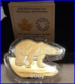 2020 Polar Bear Real Shapes Silhouette $50 3.2OZ Pure Silver Proof Coin Canada