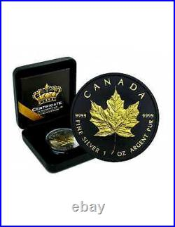 2021 1 oz. 9999 Maple Leaf Gold Gilded & Ruthenium Silver Coin Empire Edition