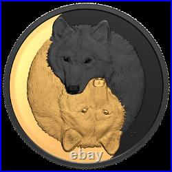 2021 Canada $20 Black and Gold The Grey Wolf 1oz. 9999 Silver Mintage 4,500