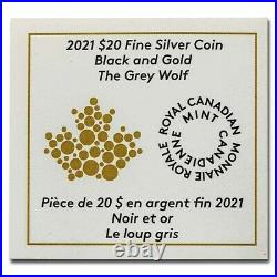 2021 Canada $20 Black and Gold The Grey Wolf 1oz Silver Royal Canadian Mint