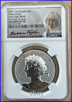 2021 Canada Peace Dollar Reverse Proof NGC PF70 1oz Silver FDOI Susan Taylor COA