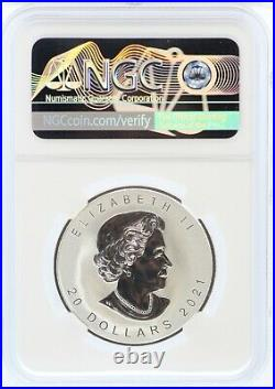 2021 Canada Super Incuse Maple Leaf 1 oz Silver NGC PF70 Reverse $20 Coin JL21
