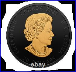 2021 The Grey Wolf Black and Gold Plated $20 1OZ Pure Silver Canada Coin