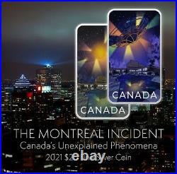 2021 UFO CANADA $20 Unexplained Phenomena MONTREAL Incident 1oz Silver GLOW Coin