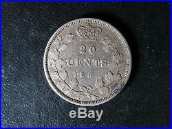 20 cents 1858 Canada Queen Victoria silver coin c ¢ F-15