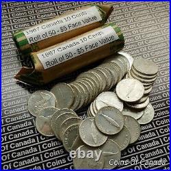 2 Rolls Of Circulated 1967 Canada Silver Dimes $10 Face Value #coinsofcanada