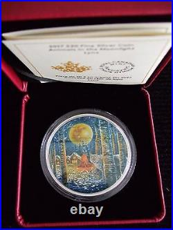 2 oz. Pure Silver Glow-In-The-Dark Coin Animals in the Moonlight Lynx Canada
