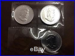3 COINS each 1 Troy Oz. 9999 SILVER 2013 $5 Canada Maple Leaf. Just Opened