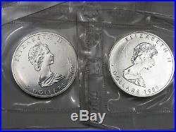 5 BU 1989 Silver Maple Leaf Coins of Canada (Original Packaging). #34