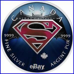 $5 Canada 1 oz Silver SUPERMAN BATMAN Logo v SUPERMAN Logo. 9999 Box, Cap, Coa