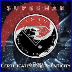 $5 Canada 1 oz Silver SUPERMAN BATMAN v SUPERMAN Fight. 9999 Box, Cap, Coa