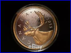 5 oz. Fine Silver Gold-Plated 2015 Canada Big Coins Series #2 Caribou 25 Cents