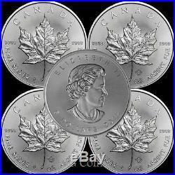 5 x 2019 Canadian 1 oz maple leaf 999.9 Silver Bullion Coin