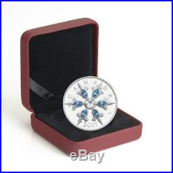 Blue Crystal Snowflake 2007 Canada $20 Sterling Silver Coin WithBox & COA