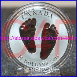 Born in 2016 Welcome to the World Baby Feet $10 Pure Silver Coin in Gift Box
