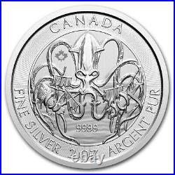 CANADA 10 Dollars Argent 2 Onces Créatures du Nord le Kraken 2020