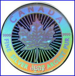 CANADA 2003 Hologram 5-coin Silver Maple Leaf Set withWooden Box & CoA