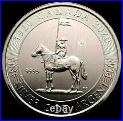 CANADA 2020 RCMP 1 x 2 oz 9999 SILVER 10 Dollar Mountie Coin 2x Maple Leaf Width
