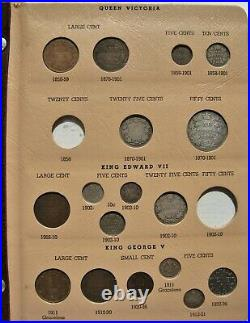 CANADA Type Set in Dansco Album 1859-1973 Incl. Large Silver 70 Coins