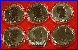 CANADA WILDLIFE SERIES 6-1 OZ. 999 FINE SILVER WithBLUE VELVET DISPLAY BOX GIFT