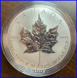 Canada 10 Oz Fine Silver Maple Leaf 50 Dollars 1998 10th Anniv Of The Maple Leaf