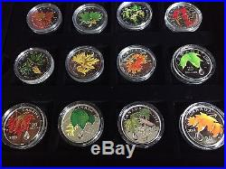 Canada 12 Maple Leaf Silver Coin Set In Beautiful Display Case