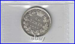 Canada 1858 Twenty Cents Queen Victoria Sterling Silver Coin Graded Iccs Ef-40