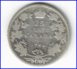Canada 1906 Small Crown Twenty Five Cents Quarter Edward VII 925 Silver Coin