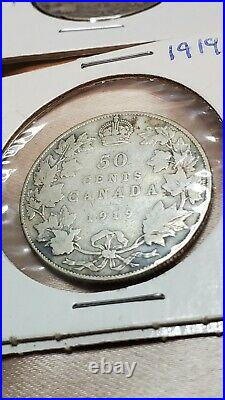 Canada 1910, 1913, 1914, 1917, 1918 & 1919 50 Cent 6 Coin Silver Lot