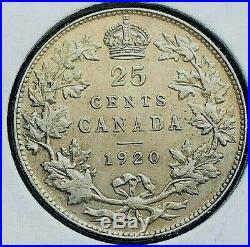 Canada 1920 25 Cent 80% Silver Coin From A Huge Collection'keep Following Us
