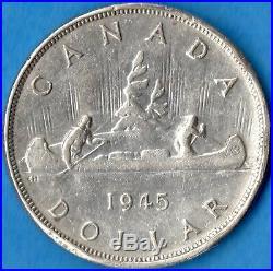 Canada 1945 $1 One Dollar Silver Coin Key Date Rim Bumps