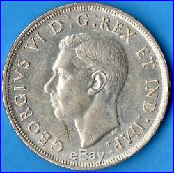 Canada 1947 Blunt 7 $1 One Dollar Silver Coin AU (scratched)