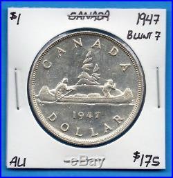 Canada 1947 Blunt 7 $1 One Dollar Silver Coin Key Date AU