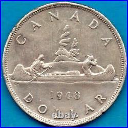 Canada 1948 $1 One Dollar Silver Coin Key Date Light Rim Nicks