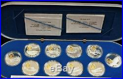 Canada 1990/91 $20 Sterling Silver Aviation 10 coin Proof set in Alum Case. 1398