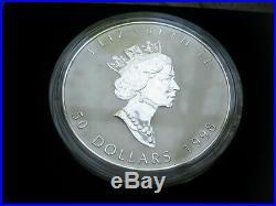 Canada 1998 Canada Maple Leaf 10th Anniv. $50 Dollar Silver 10 oz Coin Ingot Box