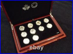 Canada 1/2 oz Silver Maple Leaf Collection 2011-2020 (10 coins) with bonus case