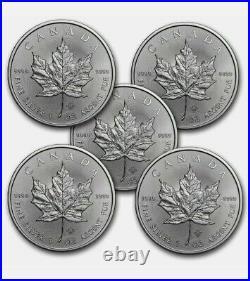 Canada 1 oz Silver Maple Leaf (RANDOM YEAR) Lot of 5 Coins. 9999 Fine Silver