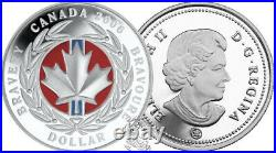 Canada 2006 $1 Medal of Bravery Proof red enamel Silver Dollar coin