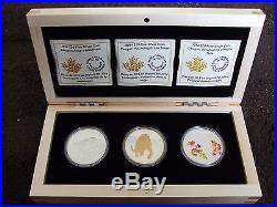 Canada 2014 Fine Silver 3 Coin Cougar Set with BONUS Wooden Box