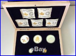 Canada 2014 Silver, Gold, Platinum 5 Coin Cougar Set BONUS Wooden Box Free ship