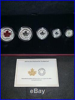 Canada 2015 Silver Maple Leaf 5 Coin Fractional Set