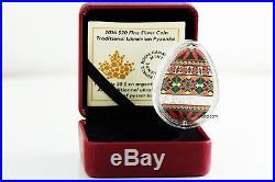 Canada 2016 20$ Traditional Ukrainian Pysanka Egg Shape Silver Coin COA 0001