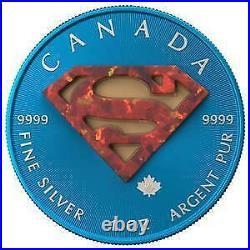 Canada 2016 5$ Superman Space Blue 1 Oz Silbermünze mit echtem OPAL Stein