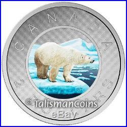Canada 2016 Big Coins Series #6 Polar Bear Color $2 Toonie 5 Oz Silver Proof
