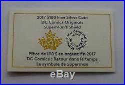 Canada 2017 $100 Superman Shield 10 OZ Silver Coin DC Comics Originals